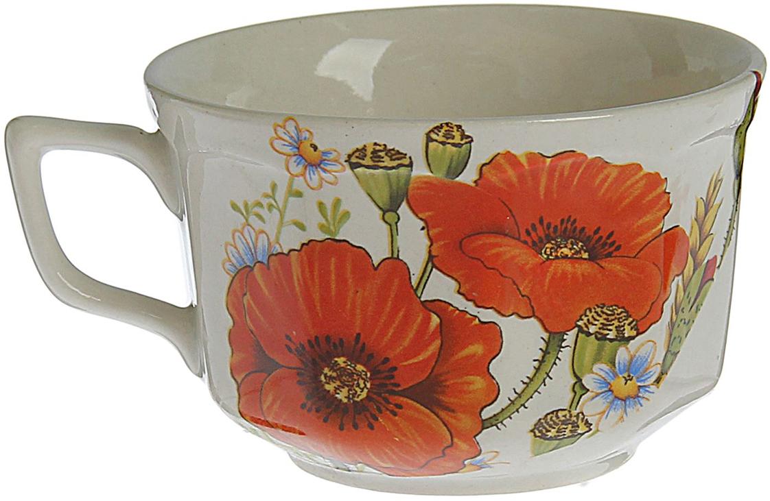 Чашка Керамика ручной работы Глория. Красный мак, 220 мл