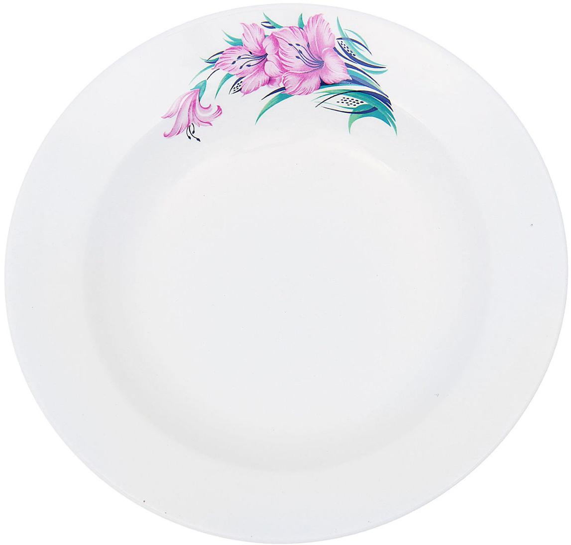 Тарелка глубокая Керамика ручной работы Градиолус, диаметр 20 см1821319Данная тарелка понравится любителям вкусной и полезной домашней пищи. Такая посуда практична и красива, в ней можно хранить и подавать разнообразные блюда. При многократном использовании изделие сохранит свой вид и выдержит мытье в посудомоечной машине. В керамической емкости горячая пища долго сохраняет свое тепло, остуженные блюда остаются прохладными. Изделие не выделяет вредных веществ при нагревании и длительном хранении за счет экологичности материала.