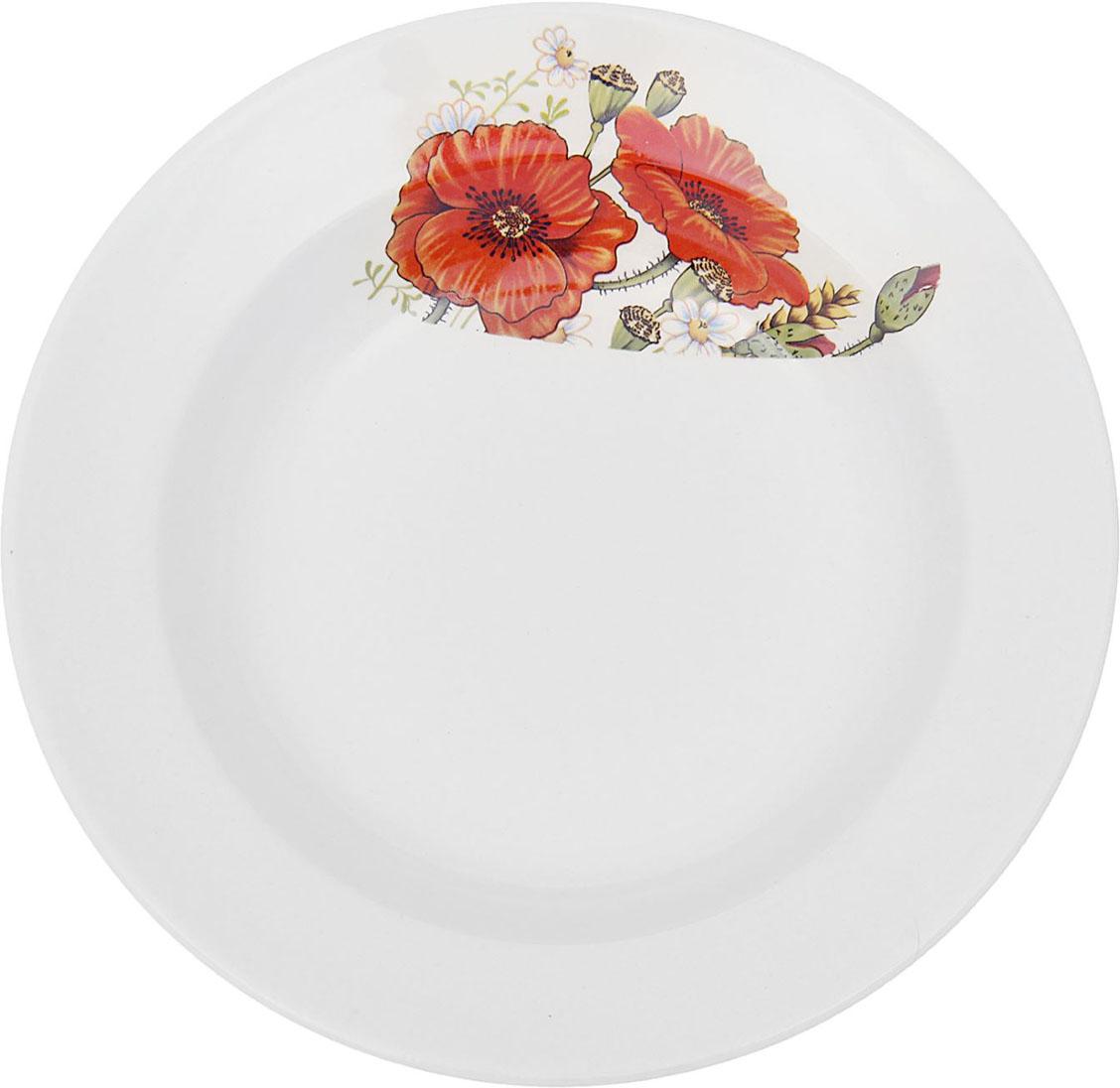 Тарелка глубокая Керамика ручной работы Красный мак, диаметр 20 см1821323Данная тарелка понравится любителям вкусной и полезной домашней пищи. Такая посуда практична и красива, в ней можно хранить и подавать разнообразные блюда. При многократном использовании изделие сохранит свой вид и выдержит мытье в посудомоечной машине. В керамической емкости горячая пища долго сохраняет свое тепло, остуженные блюда остаются прохладными. Изделие не выделяет вредных веществ при нагревании и длительном хранении за счет экологичности материала.