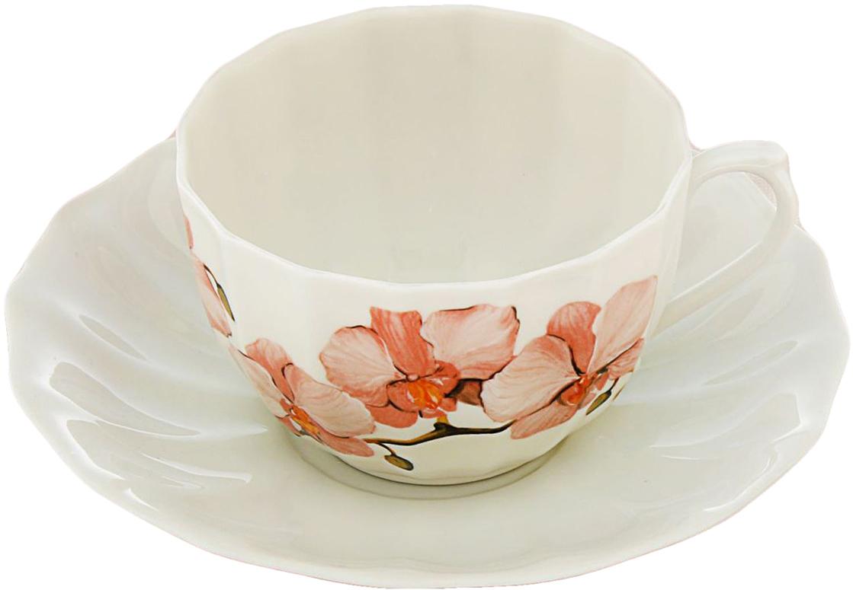 Чайная пара Sima-Land Орхидеи, 200 мл2448887Яркий, неповторимый набор создан, чтобы моментально поднимать настроение и дарить радость. А любой напиток станет вкуснее, если пить его из такой посуды. Комплект с благородным дизайном изготовлен из фарфора. Это отличный подарок, который придется по душе всем любителям чая или кофе.
