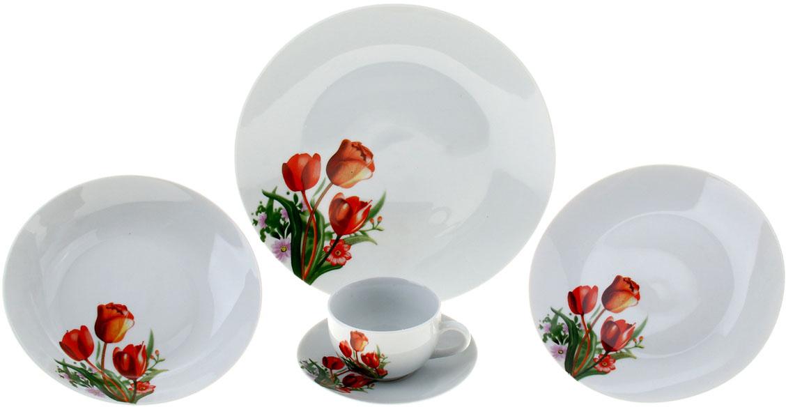 Набор столовый Доляна Тюльпаны, 20 предметов836435Элегантный столовый сервиз гармонично дополнит праздничную сервировку. Белоснежные предметы, украшенные оригинальными узорами, придутся по душе хозяевам и гостям. Особенности: приятный дизайн; стойкость к запахам; экологичный материал; высокое качество обработки поверхности. Не рекомендуется разогревать в СВЧ-печах. Мойте вручную, используя мягкие губки и неабразивные средства.