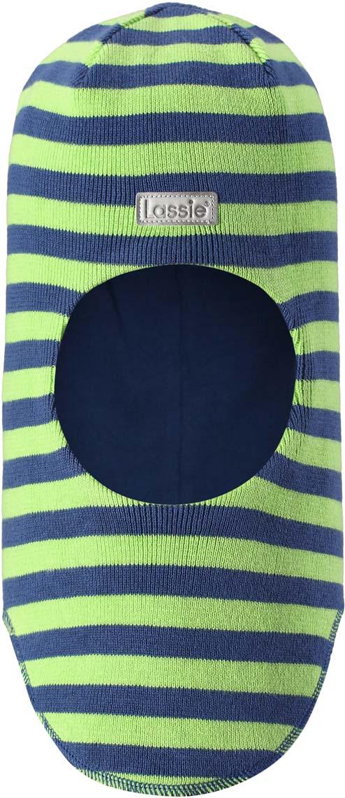 Шапка-шлем детская Lassie, цвет: синий, салатовый. 7187436910. Размер 50/52