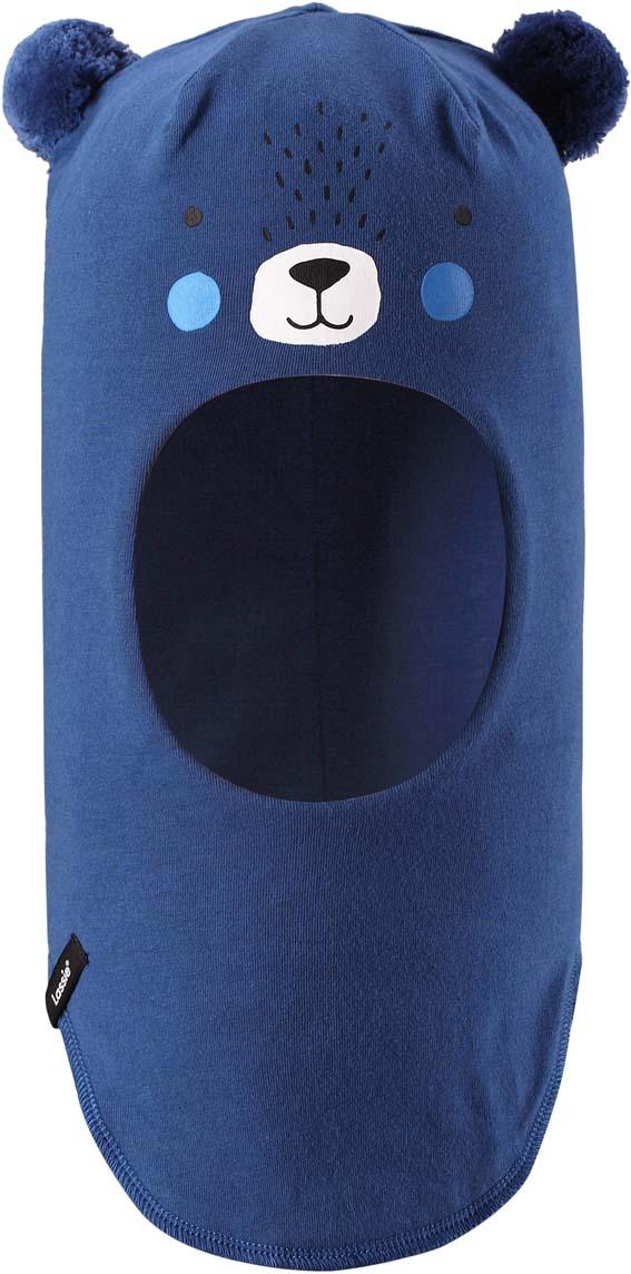 Шапка-шлем детская Lassie, цвет: синий. 7187416910. Размер 44/467187416910Шапка-шлем Lassie для малышей и детей постарше – классический выбор для зимней поры. Модель прекрасно защитит ушки, лоб и области шеи от холода и ветра. Шапка-шлем выполнена в виде мордочки медвежонка с ушками - двумя помпонами по бокам.