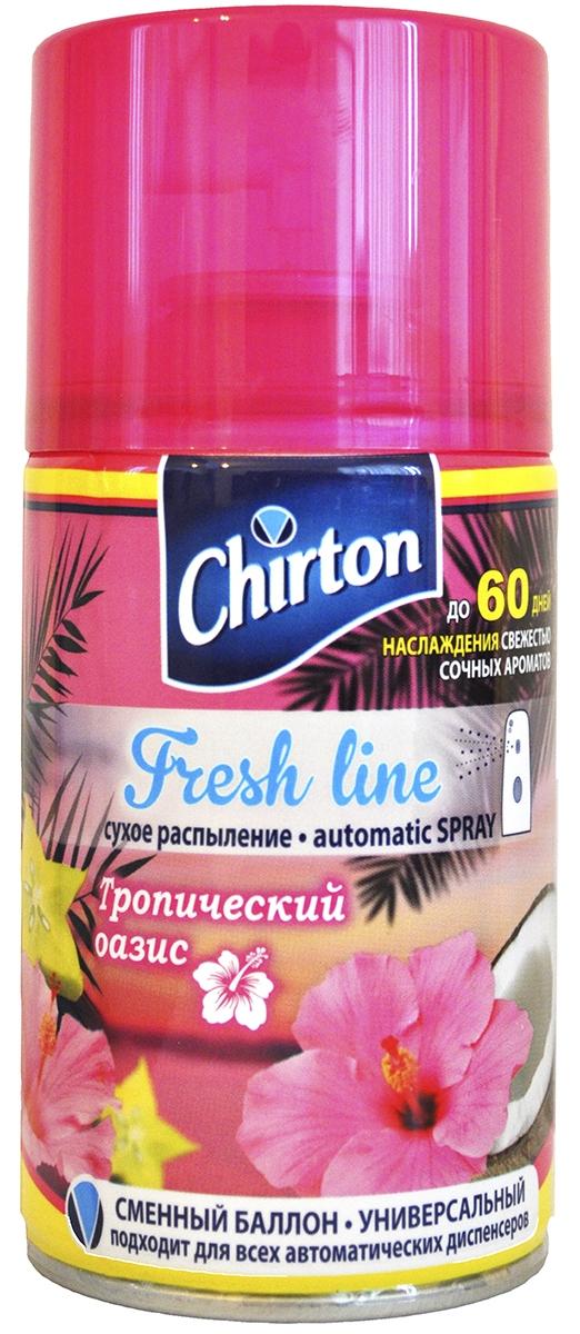 Освежитель воздуха или же сменный баллон для автоматического освежителя воздуха серии «Chirton Fresh line» («Чиртон Фреш лайн») предназначен для использования в качестве сменного баллона в автоматических освежителях воздуха соответствующей конструкции. Подходит к диспенсерам и автоматическим освежителям следующих брендов: TORK, NOVA, AIRWICK, GLADE . Быстро и эффективно устраняет неприятные запахи и освежает воздух в жилых и бытовых помещениях. Имеет приятный стойкий аромат, который надолго наполнит Ваше помещение свежестью и уютом.