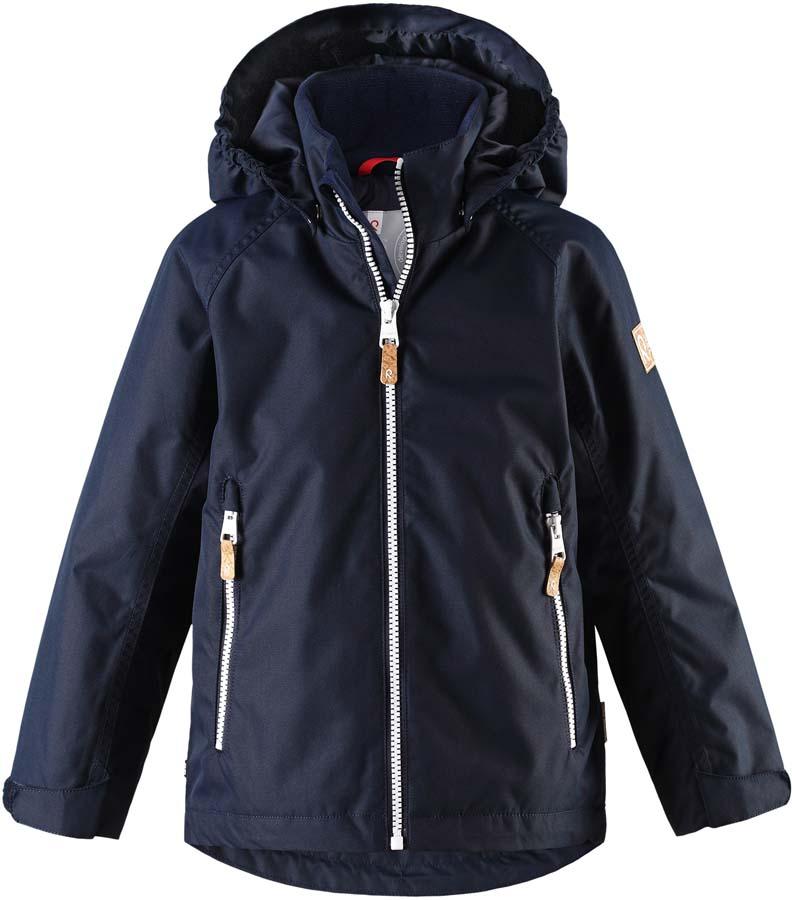 Куртка детская Reima Soutu, цвет: темно-синий. 521529R6980. Размер 116521529R6980Куртка детская Reima Soutu выполнена из полиэстера. Модель с капюшоном и длинными рукавами застегивается на застежку-молнию.