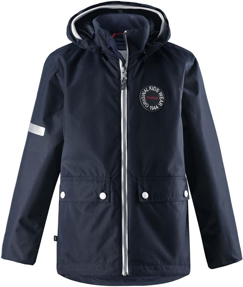 Куртка детская Reima Taag Spring, цвет: темно-синий. 5215286980. Размер 1045215286980Куртка детская Reima Taag Spring выполнена из полиэстера. Модель с капюшоном и длинными рукавами застегивается на застежку-молнию.