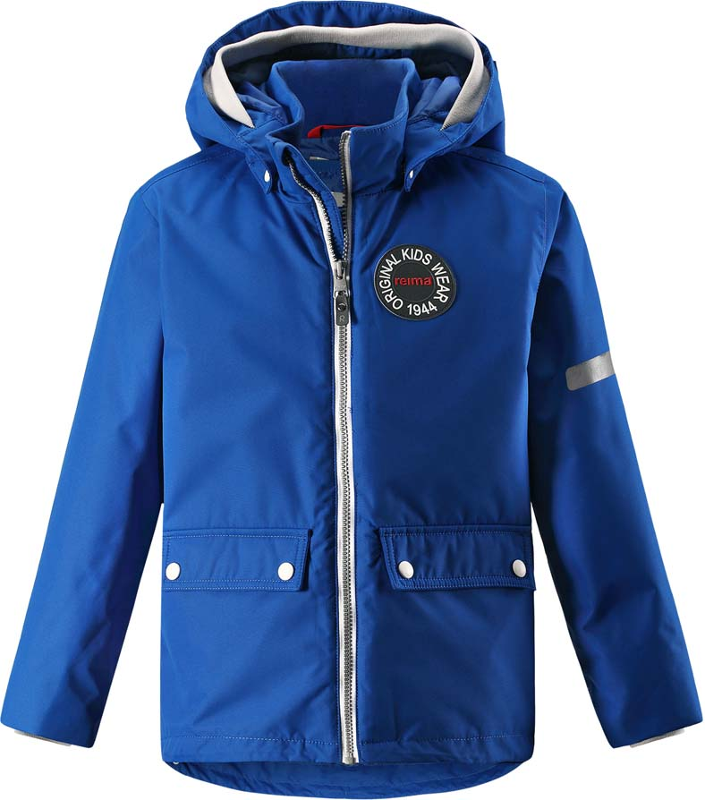 Куртка детская Reima Taag Spring, цвет: синий. 5215286640. Размер 1285215286640Куртка детская Reima Taag Spring выполнена из полиэстера. Модель с капюшоном и длинными рукавами застегивается на застежку-молнию.