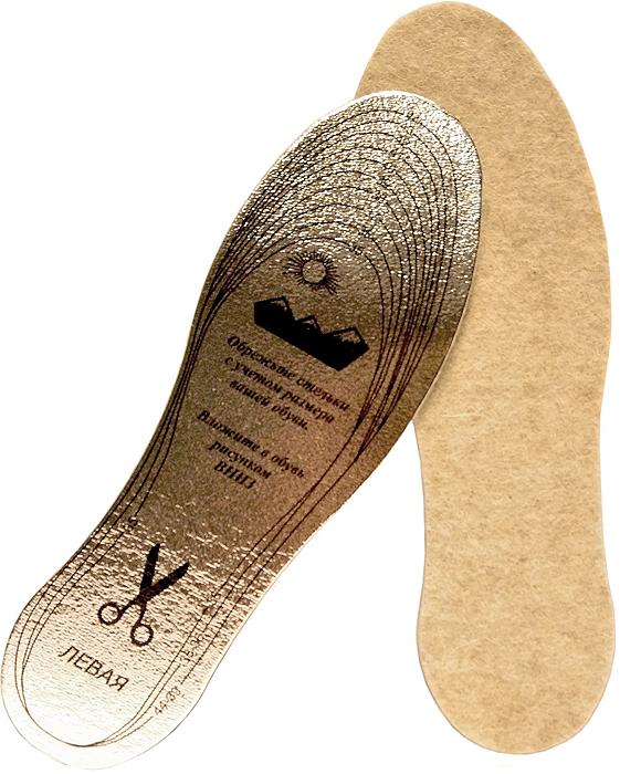 Стельки для обуви Премиум, для рыболовов и охотников, металлизированные, цвет: светло-бежевый. Размер 35-45A2017З/48Стельки зимние ПРЕМИУМ для рыболовов и охотников , защищают ноги от холода. В составе натуральный белый войлок, пенополиэтилен, металлизированный лавсан. Размер 35-44.
