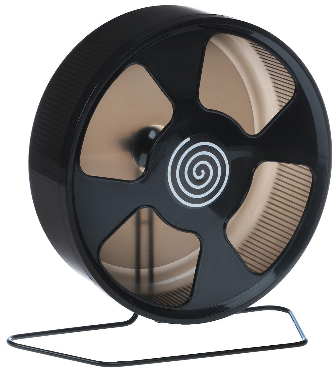 Колесо для грызунов Trixie, на подставке, цвет: черный, диаметр 28 см