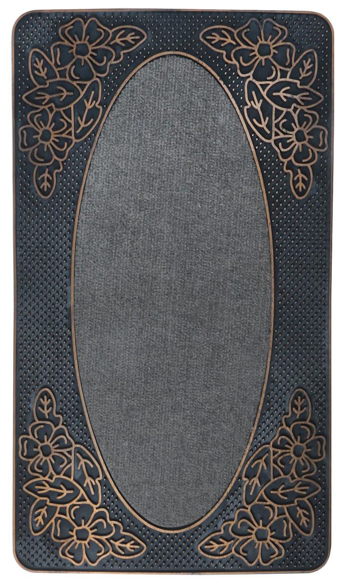 """Придверный коврик Paterra """"Роскошный"""" - отличная защита вашего дома от грязи, а также  прекрасное украшение интерьера. Благодаря премиальному верхнему покрытию,  коврик легко чистится и долго служит.  Материал: полипропилен, резина.  Размеры: 40 х 70 см."""