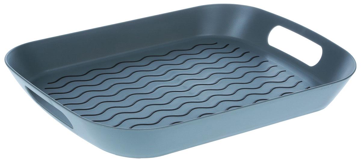 Поднос Zeller, цвет: серый, 44,2 х 29,5 х 5 см26679Оригинальный поднос Zeller, изготовленный из прочного пищевого пластика, станетнезаменимым предметом для сервировки стола. Изделие снабжено специальнымипрорезиненными вставками, которые предотвращают скольжение посуды. Основание подносатакже имеет резиновые вставки. Для удобства переноски предусмотрены удобные ручки ивысокие бортики.Такой поднос станет полезным и практичным приобретением для вашей кухни.