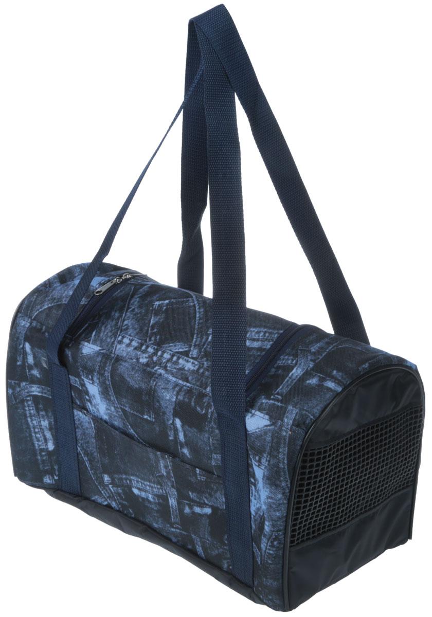 Сумка-переноска для животных Теремок, цвет: синий, черный, 38 х 20 х 22 см сумка переноска для животных теремок цвет голубой синий белый 44 х 19 х 20 см