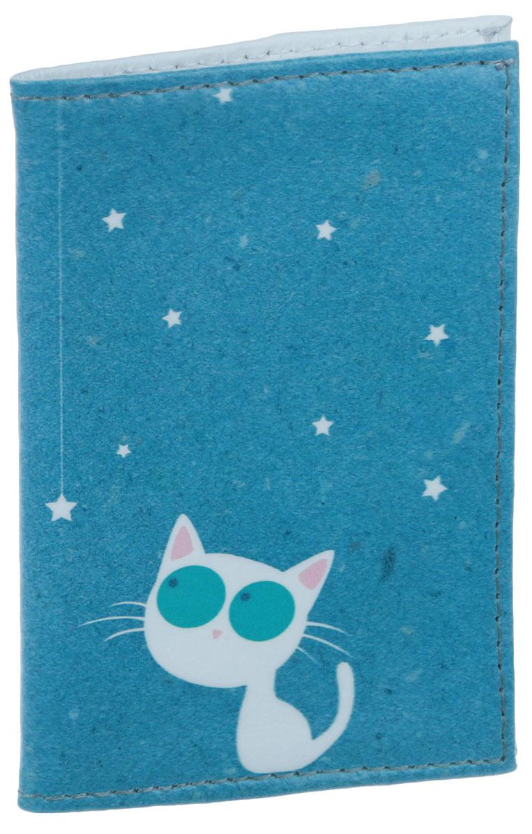 Визитница Кошка и звезды, цвет: салатовый