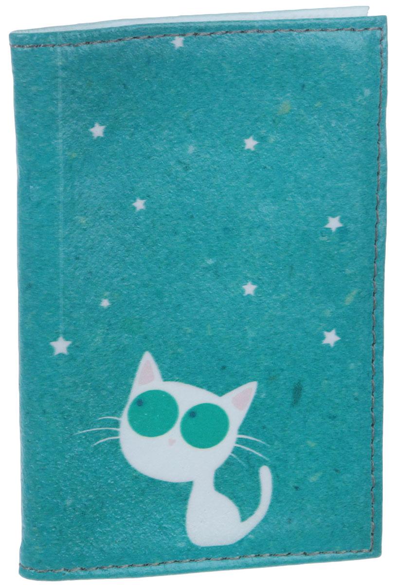 Визитница Кошка и звезды, цвет: голубой