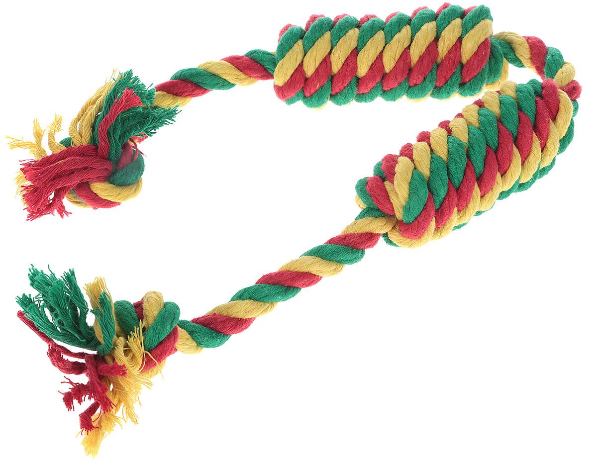 Игрушка для собак Doglike Канатная сарделька, двойная, средняя, цвет: желтый, зеленый, красный, длина 50 см игрушка канатная mrpet восьмерка с мячем цвет желтый красный 25 см