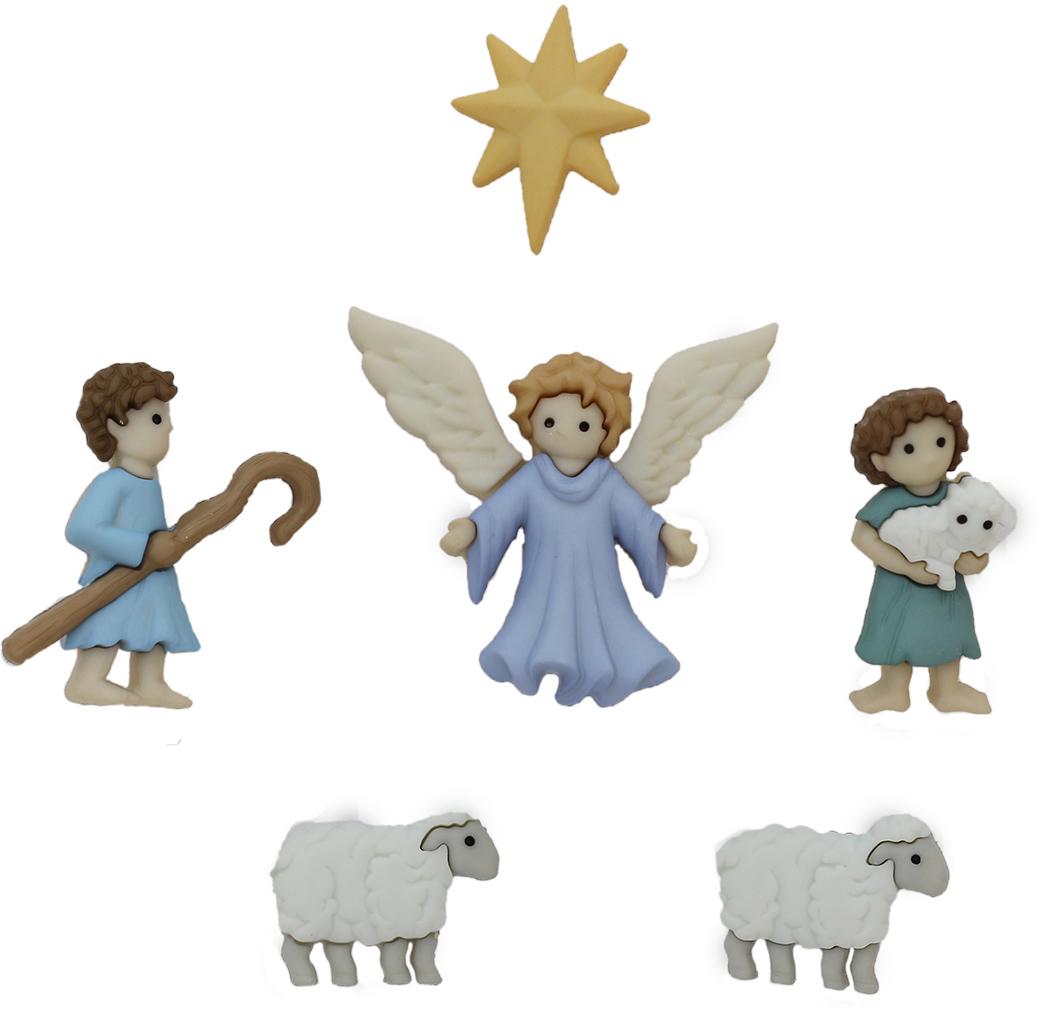 Фигурки Dress It Up Рождественский пастырь, 6 шт7716651Новогодний набор украшений для детской одежды в виде персонажей легенды о Рождестве Христовом. Материал – пластик. Использование таких украшений позволит придать оригинальности любой детской вещи, и превратить ее в любимый предмет гардероба, а также украсить детский костюм к праздничному утреннику. В зависимости от партии количество элементов может меняться.