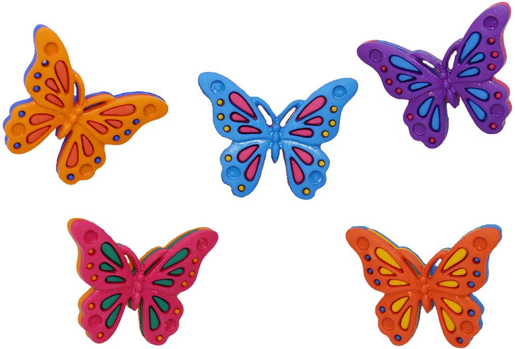 """Набор украшений для одежды в виде бабочек. Материал – пластик. Подойдет как для детской одежды, так и для декорирования женских вещей молодежного стиля, или стиля """"бохо"""". В зависимости от партии количество элементов может меняться."""