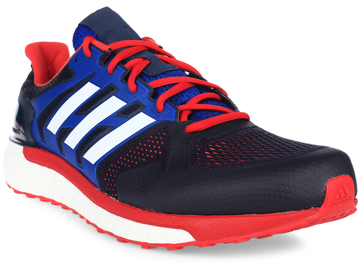 Кроссовки для бега мужские Adidas Supernova St, цвет: синий, красный. CG2702. Размер 10,5 (44)CG2702Мужские кроссовки Supernova St от Adidas для эффективных и приятных пробежек по улицам города. Ультрамягкая промежуточная подошва boost возвращает энергию, придавая дополнительный импульс каждому шагу. Облегающий сетчатый верх с поддерживающим каркасом обеспечивает надежную посадку.Тип поддержки стопы: стабильный.Двойная амортизирующая подошва boost для повышенной устойчивости и плавного бега.Легкий, дышащий верх из текстурной сетки плотно облегает стопу, обеспечивая поддержку и удобную посадку.TORSION SYSTEM соединяет носок и пятку, обеспечивая стабильность каждого шага.Литой задник FITCOUNTER обеспечивает естественную посадку и оптимальную плавность движения в области ахиллова сухожилия.Гибкая подошва STRETCHWEB повторяет естественные движения стопы; подметка из резины Continental для максимального сцепления даже с влажной поверхностью.Перепад высоты на промежуточной подошве: 8 мм (пятка: 29,9 мм / носок: 21,9 мм).