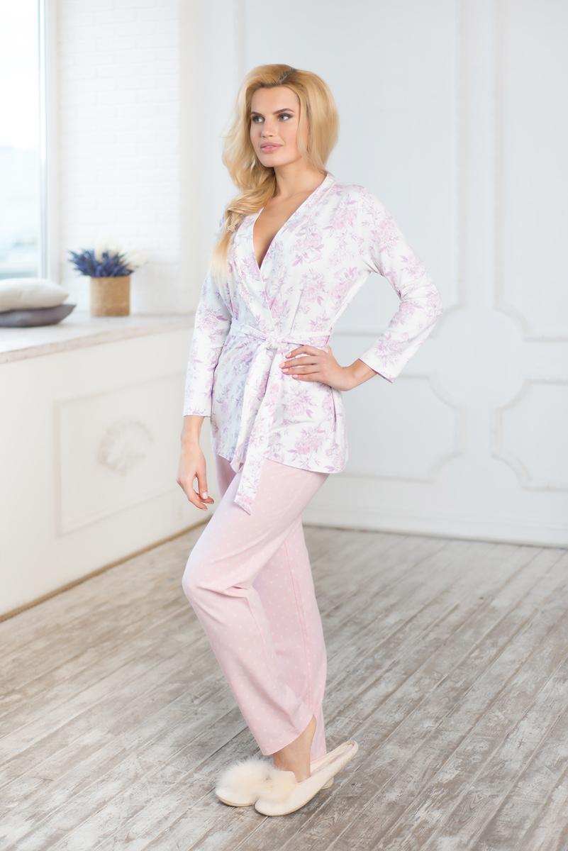 Комплект домашний женский Mia Cara Winter Garden: жакет, брюки, цвет: розовый. AW17-MCUZ-173. Размер 54/56 пижама женская mia cara футболка шорты цвет розовый бежевый ss16 mcuz 293 размер 50 52