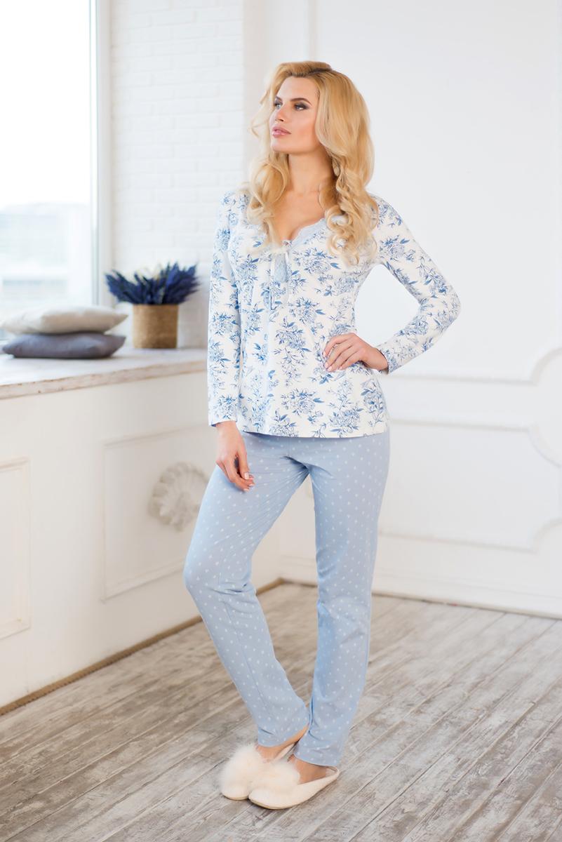 Комплект домашний женский Mia Cara Winter Garden: лонгслив, брюки, цвет: голубой. AW17-MCUZ-172. Размер 42/44 пижама женская mia cara футболка шорты цвет розовый бежевый ss16 mcuz 293 размер 50 52
