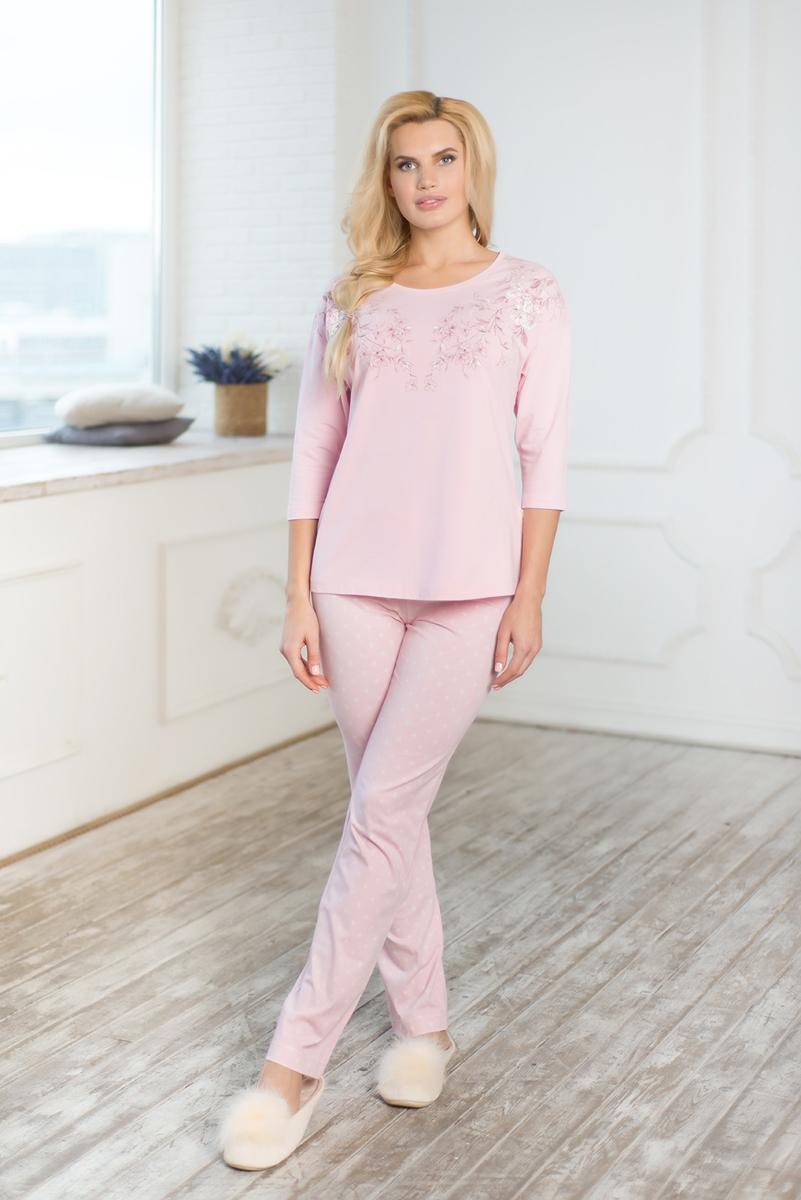 Комплект домашний женский Mia Cara Winter Garden: лонгслив, брюки, цвет: розовый. AW17-MCUZ-171. Размер 54/56 пижама женская mia cara футболка шорты цвет розовый бежевый ss16 mcuz 293 размер 50 52
