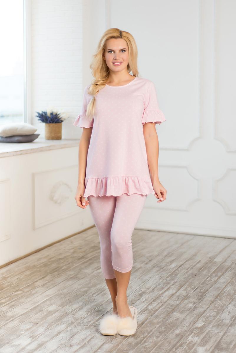 Пижама женская Mia Cara Winter Garden: футболка, капри, цвет: розовый. AW17-MCUZ-169. Размер 50/52 пижама женская mia cara футболка шорты цвет розовый бежевый ss16 mcuz 293 размер 50 52