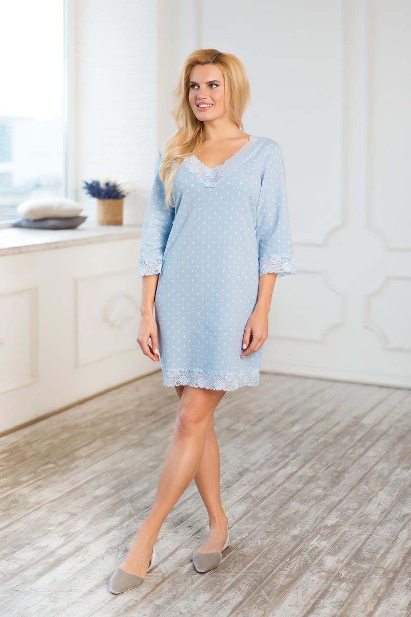 Платье домашнее Mia Cara Winter Garden, цвет: голубой. AW17-MCUZ-166. Размер 50/52 пижама женская футболка шорты mia cara portugal цвет розовый голубой aw16 mc 813 размер 50 52