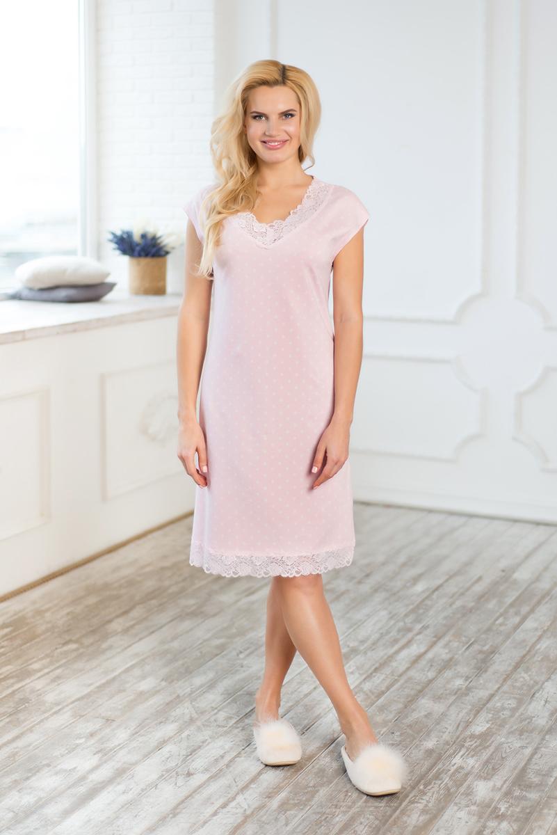 Сорочка женская Mia Cara Winter Garden, цвет: розовый. AW17-MCUZ-162. Размер 46/48 пижама женская mia cara футболка шорты цвет розовый бежевый ss16 mcuz 293 размер 50 52