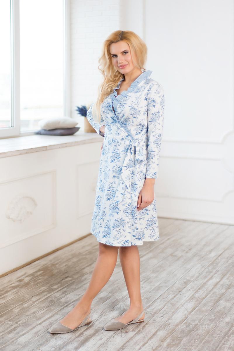Купить Халат женский Mia Cara Winter Garden, цвет: голубой. AW17-MCUZ-158. Размер 42/44