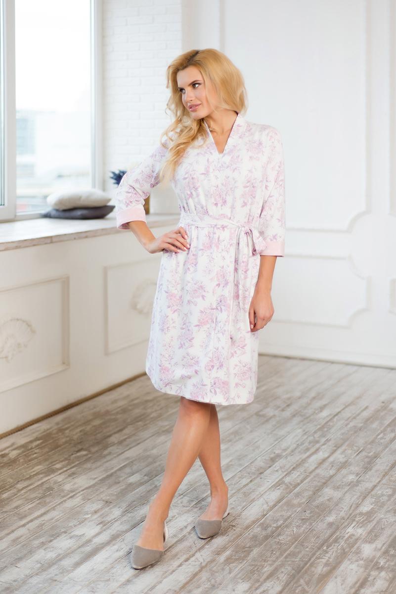 Халат женский Mia Cara Winter Garden, цвет: розовый. AW17-MCUZ-163. Размер 50/52 пижама женская mia cara футболка шорты цвет розовый бежевый ss16 mcuz 293 размер 50 52