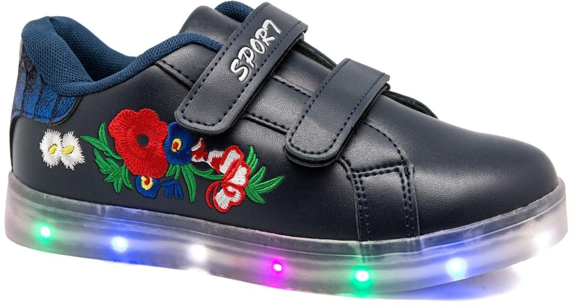 Кроссовки для девочки Канарейка, цвет: синий. A917-2. Размер 32A917-2Модные кроссовки от Канарейка со светящейся подошвой приведут в восторг вашего ребенка! Модель выполнена из высококачественной искусственной кожи, сбоку оформлена вышивкой. Модель на ноге фиксируется при помощи двух ремешков на липучках. Подкладка и стелька из текстиля гарантируют комфорт при носке. Гибкая и легкая подошва, выполненная из резины, долговечна и обеспечивает высокую устойчивость к деформациям.