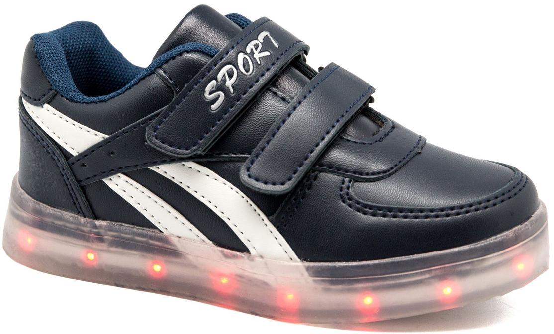 Кроссовки для мальчика Канарейка, цвет: синий. B919-2. Размер 28B919-2Модные кроссовки от Канарейка со светящейся подошвой приведут в восторг вашего ребенка! Модель выполнена из высококачественной искусственной кожи. Модель на ноге фиксируется при помощи двух ремешков на липучках. Подкладка и стелька из текстиля гарантируют комфорт при носке. Гибкая и легкая подошва, выполненная из резины, долговечна и обеспечивает высокую устойчивость к деформациям.