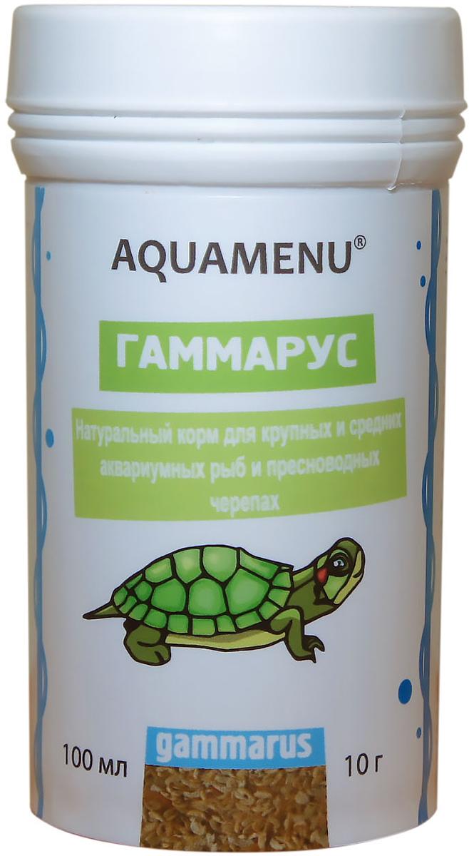 Корм Aquamenu Гаммариус для аквариумных рыб и пресноводный черепах, 100 мл (10 г)00000001930Натуральный корм для крупных и средних аквариумных рыб и пресноводных черепах.