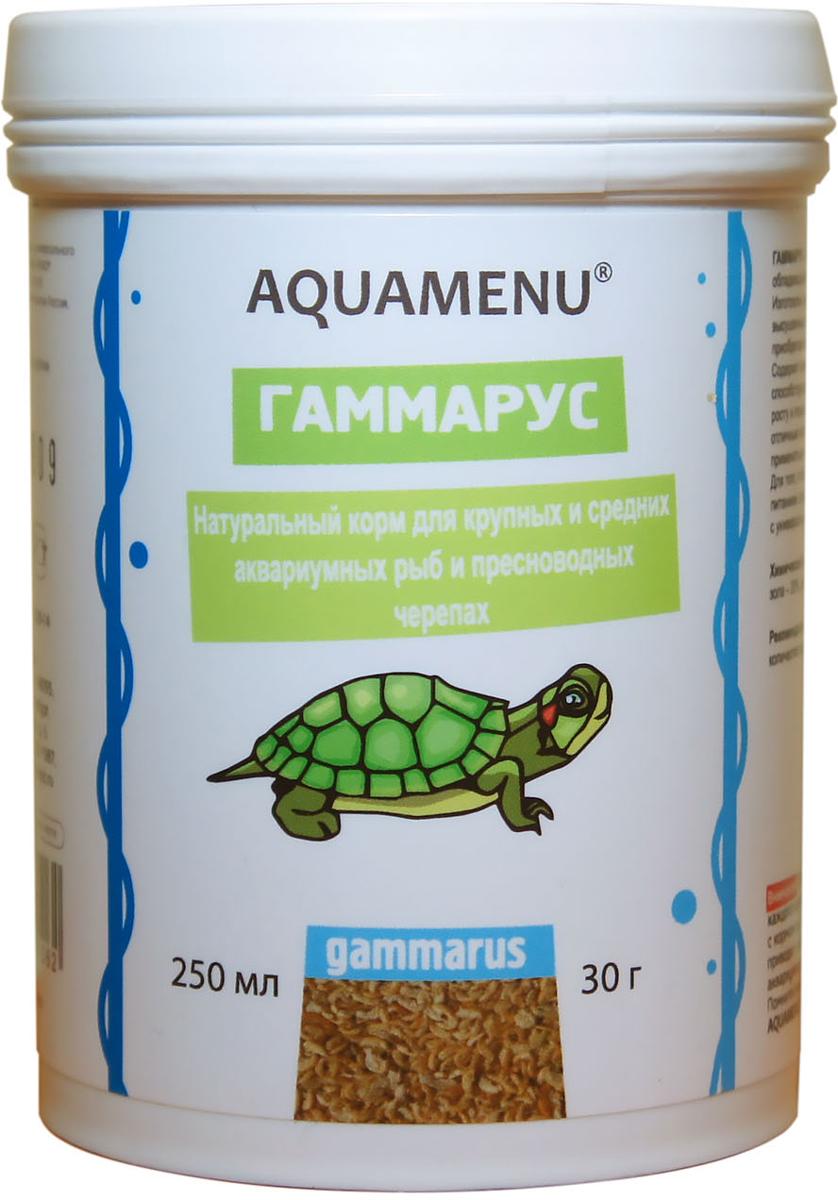 Корм Aquamenu Гаммариус для аквариумных рыб и пресноводный черепах, 250 мл (30 г) jbl novocrabs корм для панцирных ракообразных 100 мл 45 г