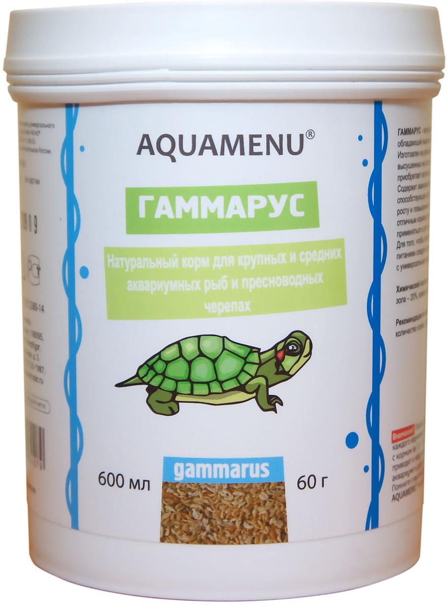 Корм Aquamenu Гаммариус для аквариумных рыб и пресноводный черепах, 600 мл (60 г)00000001932Натуральный корм для крупных и средних аквариумных рыб и пресноводных черепах.