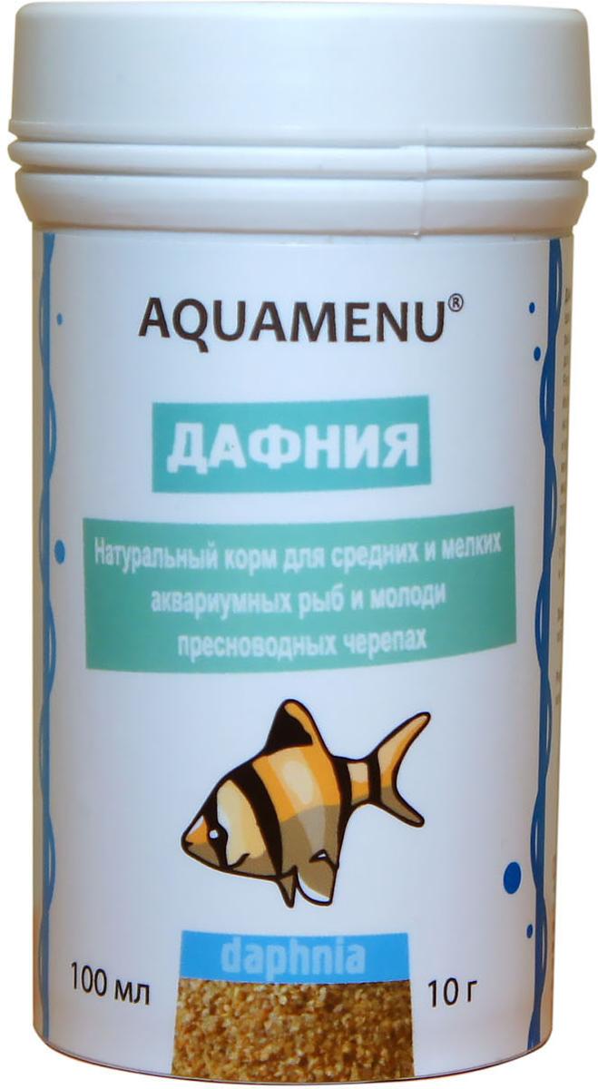 Корм Aquamenu Дафния для аквариумных рыб и пресноводный черепах, 100 мл (10 г)00000001939Натуральный корм для средних и мелких аквариумных рыб и молоди пресноводных черепах.