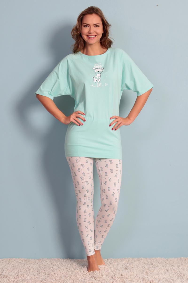 Домашний комплект женский Vienetta's Secret, цвет: светло-бирюзовый. 706084 3001. Размер 50 soft secret леггинсы