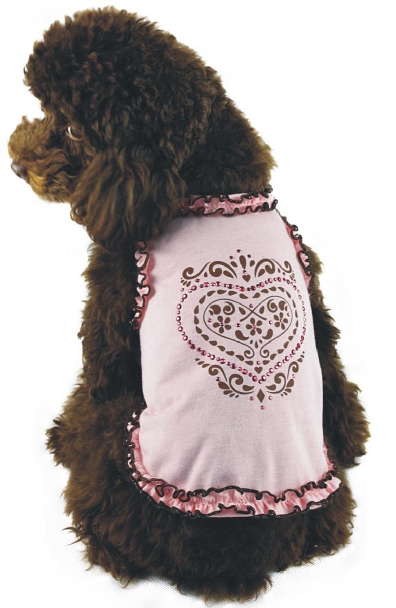 Майка для собак Dobaz, для девочки, цвет: нежно-розовый. ДА1102БХХЛ. Размер XXLДА1102БХХЛМайка для собак Dobaz, выполненная из 100% хлопка, отлично подойдет для летних прогулок. Майка не имеет рукавов и не сковывает движения. Модель украшена оборками и красивым рисунком со стразами. Обхват шеи: 40 см.Обхват груди: 60 см.Длина спинки: 41 см.Одежда для собак: нужна ли она и как её выбрать. Статья OZON Гид