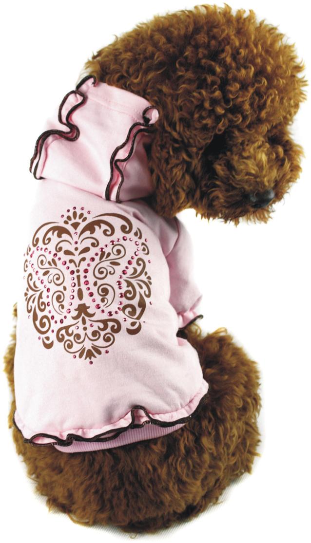 Майка-туника для собак Dobaz, утепленная, для девочки, цвет: розовый. ДА1103АХЛ. Размер XLДА1103АХЛМайка-туника для собак Dobaz, выполненная из 100% хлопка, отлично подойдет для прогулок в прохладную погоду. Майка имеет рукава и капюшон. Модель украшена красивым рисунком со стразами и оборками.Обхват шеи: 34 см.Обхват груди: 54 см.Длина спинки: 36 см.Одежда для собак: нужна ли она и как её выбрать. Статья OZON Гид