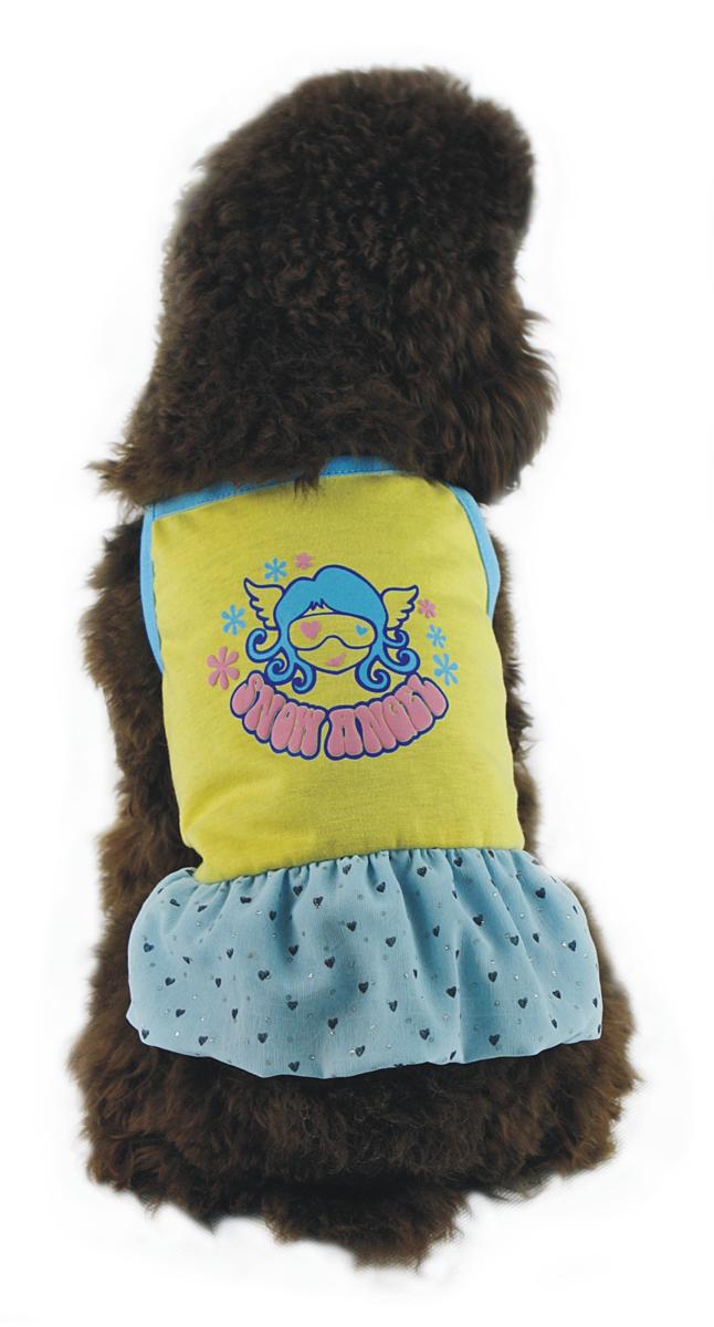 Платье для собак  Dobaz , цвет: желтый, голубой. ДА1116БЛ. Размер L - Одежда, обувь, украшения
