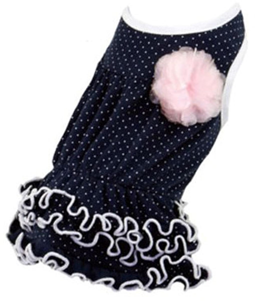 Платье для собак Dobaz, цвет: темно-синий. ДА13019АЛ. Размер LДА13019АЛШикарное платье с принтом в горошек Dobaz выполнено из плотного хлопка. На спинке декоративная брошь-цветочек. Юбочка оформлена рюшами. Модель идеально сидит и не сковывает движения. В таком платье ваша собачка будет самой красивой на прогулке. Обхват шеи: 31 см.Обхват груди: 48 см.Длина спинки: 33 см.Одежда для собак: нужна ли она и как её выбрать. Статья OZON Гид