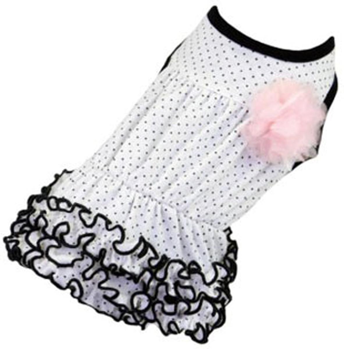 Платье для собак Dobaz, цвет: белый. ДА13019БХЛ. Размер XLДА13019БХЛШикарное платье с принтом в горошек Dobaz выполнено из плотного хлопка. На спинке декоративная брошь-цветочек. Юбочка оформлена рюшами. Модель идеально сидит и не сковывает движения. В таком платье ваша собачка будет самой красивой на прогулке. Обхват шеи: 34 см.Обхват груди: 54 см.Длина спинки: 36 см.Одежда для собак: нужна ли она и как её выбрать. Статья OZON Гид