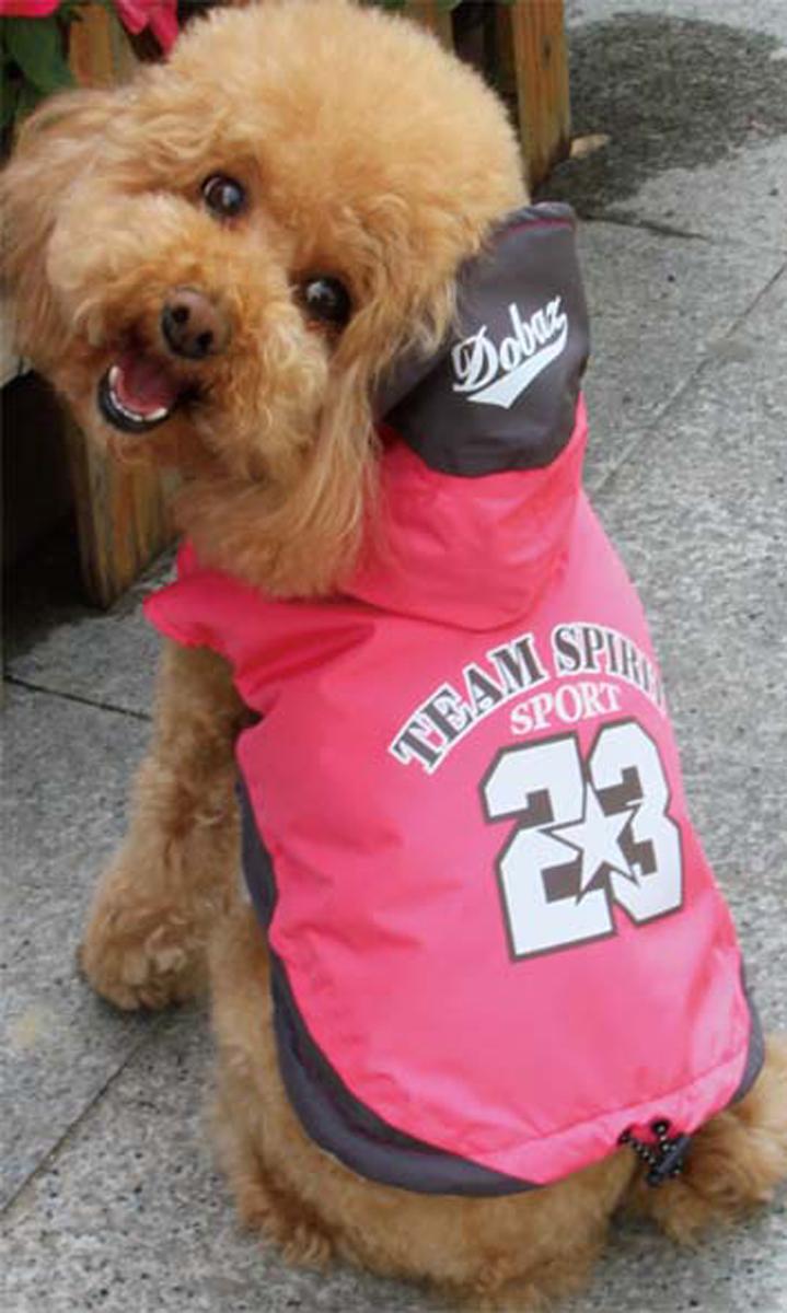 Куртка для собак Dobaz Team Spirit, цвет: розовый. ДА13076АЛ. Размер LДА13076АЛСпортивная куртка Dobaz Team Spirit с капюшоном и оригинальной накаткой на спинке. Предназначена для использования в прохладную, влажную погоду.Обхват шеи: 31 см.Обхват груди: 48 см.Длина спинки: 33 см.