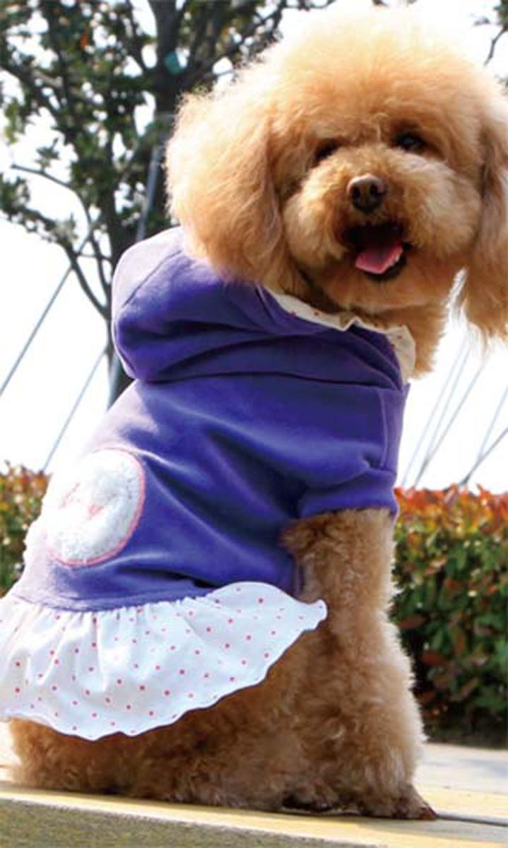 Платье для собак Dobaz, утепленное, цвет: сиреневый. ДА13082СМ. Размер MДА13082СМОригинальное стильное платье для собаки - очень теплое, идеально подходит для прогулок в прохладную погоду с вашей маленькой модницей. Аппликация в виде банта на спинке. Капюшон оторочен рюшами в цвет юбочки.Обхват шеи: 27 см.Обхват груди: 42 см.Длина спинки: 28 см.