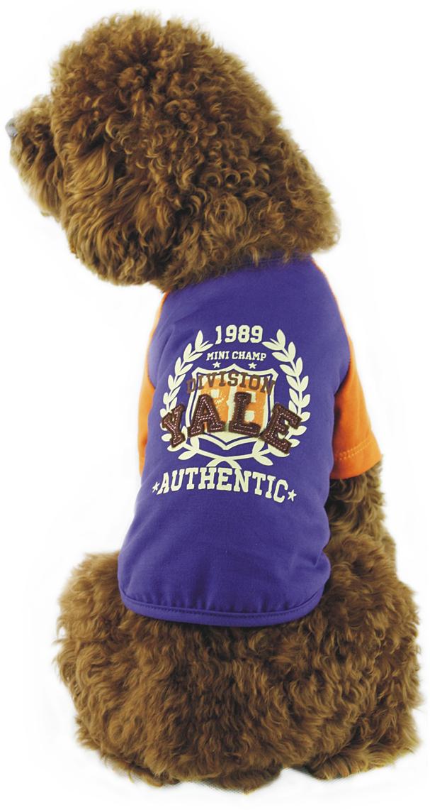 Майка для собак Dobaz, унисекс, цвет: синий, оранжевый. ДГ1101АХХЛ. Размер XXLДГ1101АХХЛТрикотажная майка для собак Dobaz выполнена из 100% хлопка. Майка комфортно сидит и не сковывает движений. Спинка украшена оригинальным принтом. В такой майке ваша собачка будет самой стильной на прогулке.Обхват шеи: 40 см.Обхват груди: 60 см.Длина спинки: 41 см.Одежда для собак: нужна ли она и как её выбрать. Статья OZON Гид
