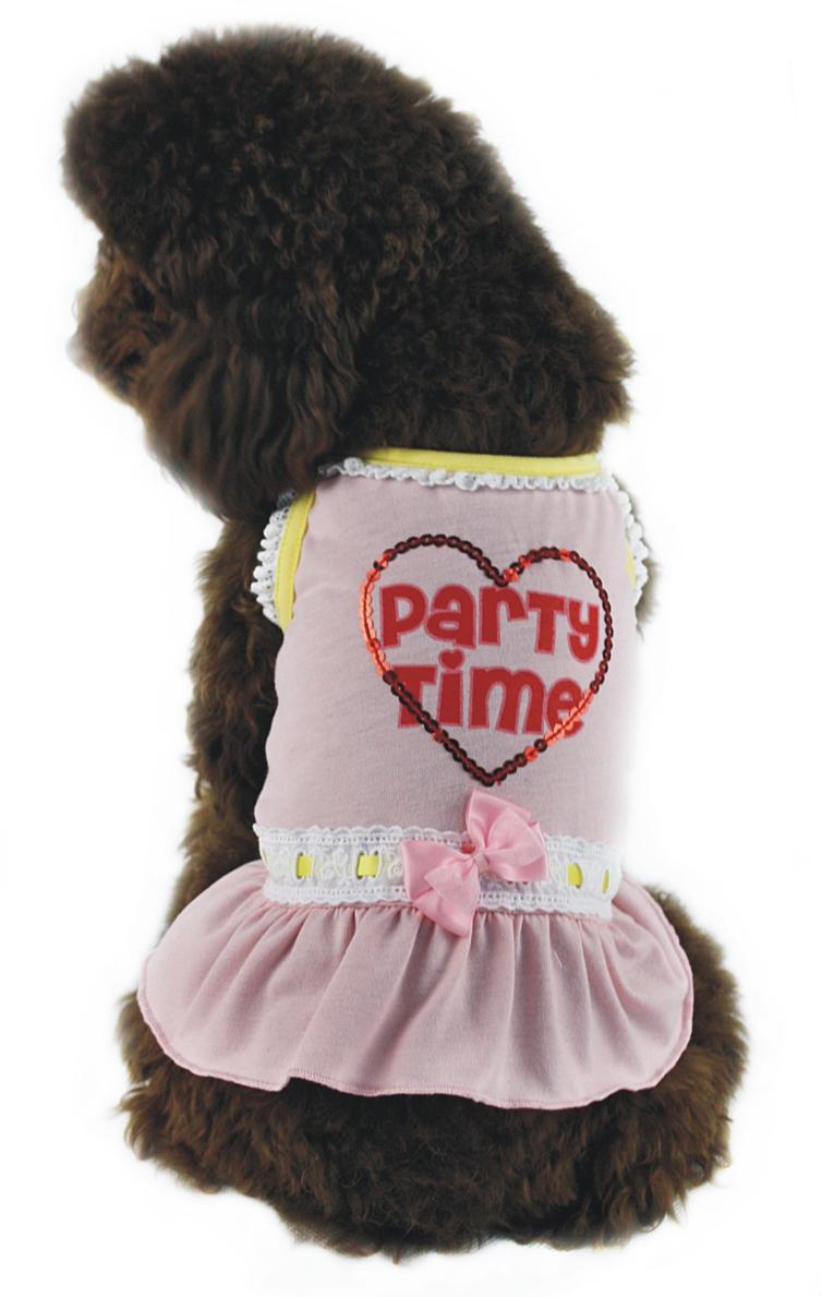 Платье для собак Dobaz, цвет: розовый. ДГ1110БХЛ. Размер XLДГ1110БХЛКрасивое трикотажное платье Dobaz выполнено из 100% хлопка. Модель дополнена кружевной тесьмой, бантиком и аппликацией из пайеток в форме сердца. В таком платье ваша собачка будет самой красивой на прогулке. Обхват шеи: 34 см.Обхват груди: 54 см.Длина спинки: 36 см.Одежда для собак: нужна ли она и как её выбрать. Статья OZON Гид