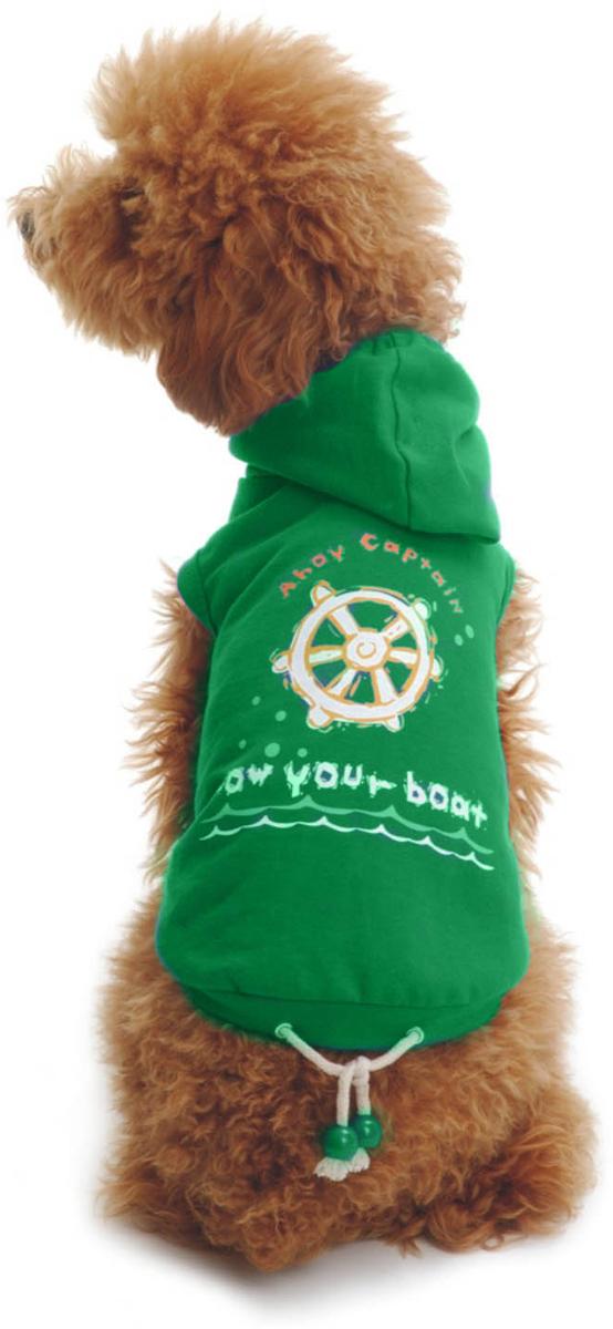 Майка для собак Dobaz Штурвал, унисекс, цвет: зеленый. ДЛ017БХХЛ. Размер XXLДЛ017БХХЛТрикотажная майка для собак Dobaz выполнена из 100% хлопка. Модель дополнена капюшоном и затягивающимся шнурком для регулировки посадки. Спинка украшена рисунком в морском стиле. В такой майке ваша собачка будет самой стильной на прогулке. Обхват шеи: 40 см.Обхват груди: 60 см.Длина спинки: 41 см.Одежда для собак: нужна ли она и как её выбрать. Статья OZON Гид