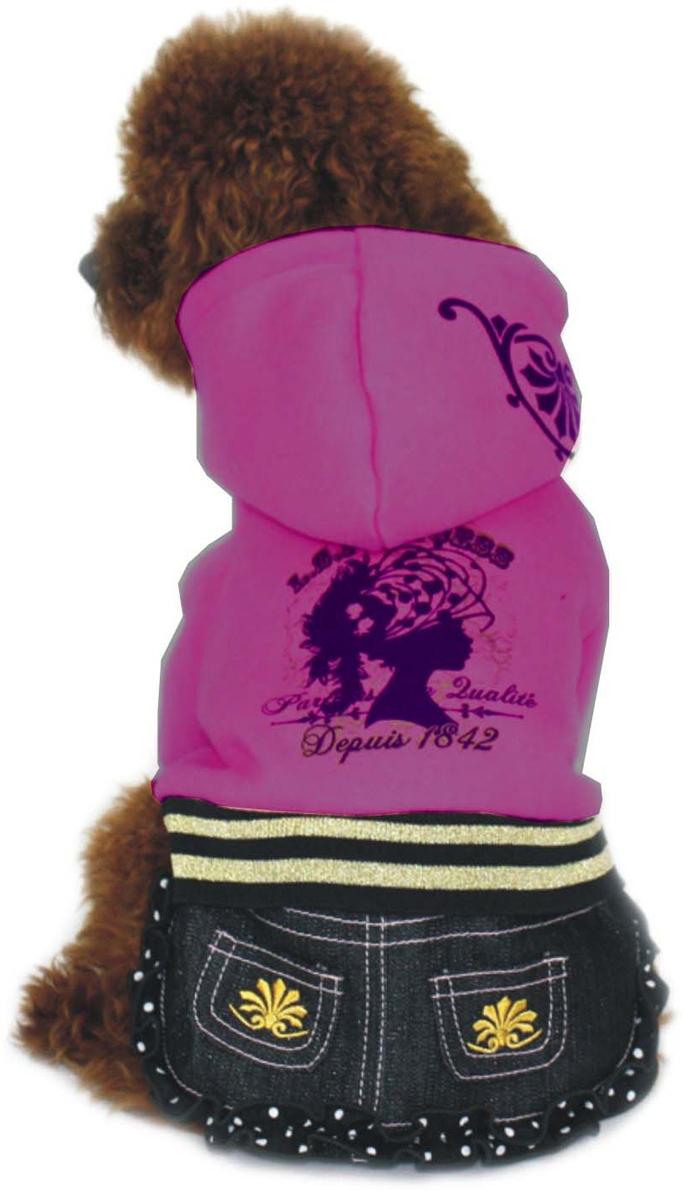 Платье для собак Dobaz, утепленное, цвет: фиолетовый. ДЛ1025БХЛ. Размер XLДЛ1025БХЛПлатье для собак Dobaz выполнено из 100% хлопка. Текстильный верх отлично сочетается с джинсовым низом. Юбочка дополнена рюшами в горошек и двумя карманами с нашивкой. Платье имеет капюшон. В таком платье ваша собачка будет самой стильной. Обхват шеи: 34 см.Обхват груди: 54 см.Длина спинки: 36 см.Одежда для собак: нужна ли она и как её выбрать. Статья OZON Гид