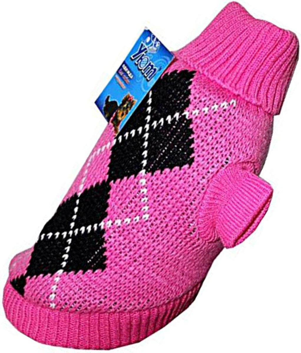 Свитер для собак Уют, для девочки, цвет: розовый. НМ11М. Размер MНМ11МКрасивый вязаный свитер для собак Уют выполнен из акрила. Рукава, воротник и низ изделия дополнены эластичными трикотажными резинками для плотного прилегания. Модель декорирована красивым рисунком в виде ромбов. В таком свитере вашей собачке будет тепло и уютно. Обхват шеи: 27-30 см.Обхват груди: 39-47 см.Длина спинки: 30 см.Одежда для собак: нужна ли она и как её выбрать. Статья OZON Гид