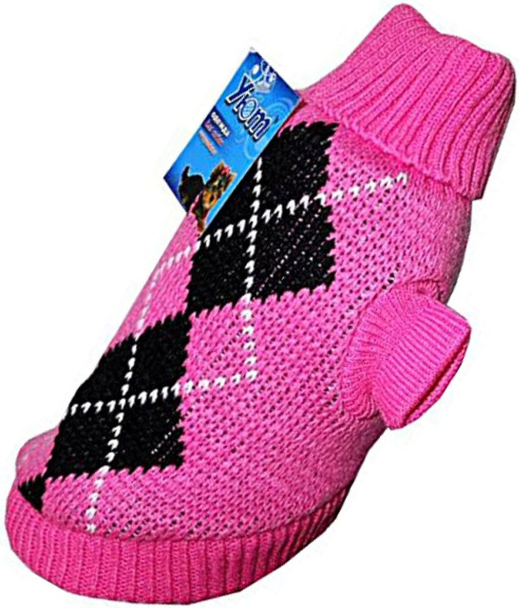 Свитер для собак Уют, для девочки, цвет: розовый. НМ11ХЛ. Размер XLНМ11ХЛКрасивый вязаный свитер для собак Уют выполнен из акрила. Рукава, воротник и низ изделия дополнены эластичными трикотажными резинками для плотного прилегания. Модель декорирована красивым рисунком в виде ромбов. В таком свитере вашей собачке будет тепло и уютно. Обхват шеи: 32-36 см.Обхват груди: 53-61 см.Длина спинки: 40 см.Одежда для собак: нужна ли она и как её выбрать. Статья OZON Гид